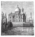 Taj Mahal India Old engraved vector image