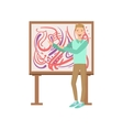 Man Standing Next To Abstract Painting Creative vector image