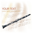 Classical clarinet with musical notes vector image vector image