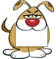 Cartoon angry dog holding a sign in its mouth vector image