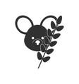 black icon on white background koala and plant vector image