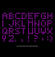 Rounded flat pixel art alphabet font in ultraviole vector image