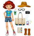 Girl hipster vector image vector image