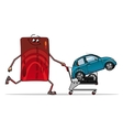 Credit card with new car in trolley vector image