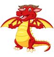 Cartoon adorable dragon on white background vector image vector image