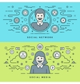 Flat line Social Media and Network Concept vector image