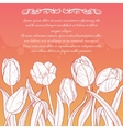 Floral card with tulips on red-yellow background vector image