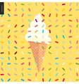 White Ice cream in a cone and pattern vector image