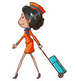 A coloured drawing of an air hostess vector image