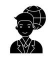 businessman global icon vector image