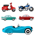 classic cars and motorcycles vector image