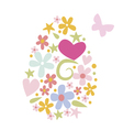 Floral Easter post card design with butterfly vector image