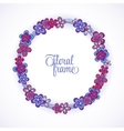 Floral Frame circle Cute retro flowers arranged vector image
