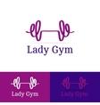 ribbon dumb-bell lady gym logotype Modern vector image