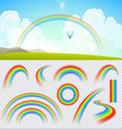 Set of transparent realistic rainbows vector image