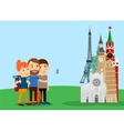 Traveling family make selfie near landmarks vector image