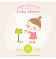 Baby Girl with Mail - Baby Shower or Arrival Card vector image