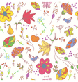 Floral pastel seamless wallpaper with birds vector image