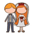 blurred colorful faceless cartoon couple in vector image