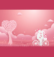 paper art couple on bicycle concept romantic love vector image