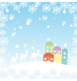 winter landscape with camels houses and snowflakes vector image