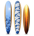 Wooden surfboards with design vector image