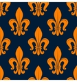 Orange fleur-de-lis floral seamless background vector image