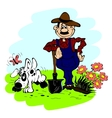 Man and dog in the garden vector image vector image