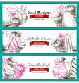 Banner of dessert food sketch with ice cream vector image