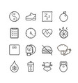 black thin line health icons set vector image