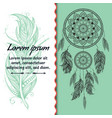 card design dreamcatcher text place boho style vector image