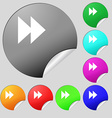 rewind icon sign Set of eight multi-colored round vector image