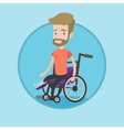 Man with broken leg sitting in wheelchair vector image