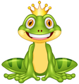 Happy cartoon king frog vector image