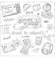 Set of school drawings on chalkboard Sketches vector image