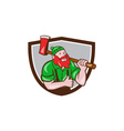 Paul Bunyan Lumberjack Axe Thumbs Up Crest Cartoon vector image