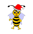 A funny Christmas cartoon bee vector image