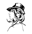 hand drawn portrait of young stylish girl vector image