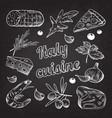 italian food hand drawn doodle on blackboard vector image