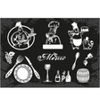 Set of chefs and food elements vector image