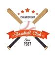 poster baseball crossed bats and ball stars vector image