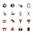 billiards icon set vector image