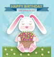 happy birthday background with cute white bunny vector image