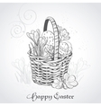 Easter card with a basket and flowersVintage vector image