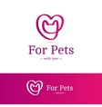 pink ribbon sign Cat head with heart vector image