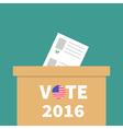 Big Ballot Voting box with paper blank bulletin vector image