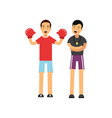 cartoon male boxer in red boxing gloves working vector image