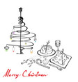 christmas dinner with pudding wine and dessert vector image