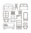 Furniture interior icons vector image