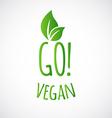 GO vegan logo or label vector image